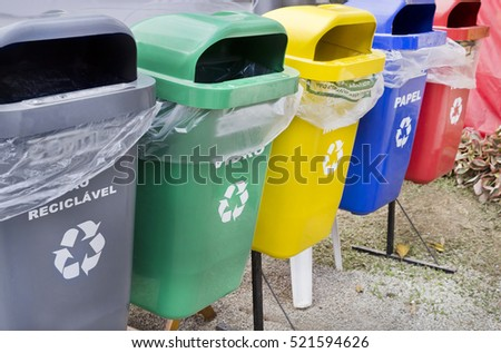 Environmental education-garbage cans-separate collection for recycling-nature conservation