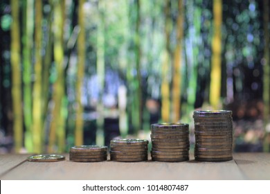 Environmental friendly economy. Finance business of saving nature. Coin pile stacked in increasing chart shape on wood board with out of focus forest of big tall green trees background.