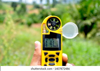 environmental meter from anemometer for  measuring the speed of wind, humidity and temperature