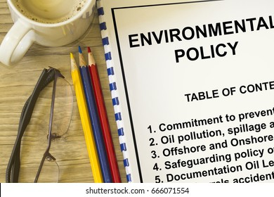 Environmental policy and safeguarding concept- with table of contents on a lecture coversheet.