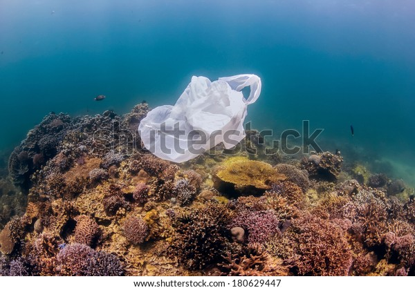 Environmental Pollution - A discarded white plastic bags drifts over a tropical coral reef