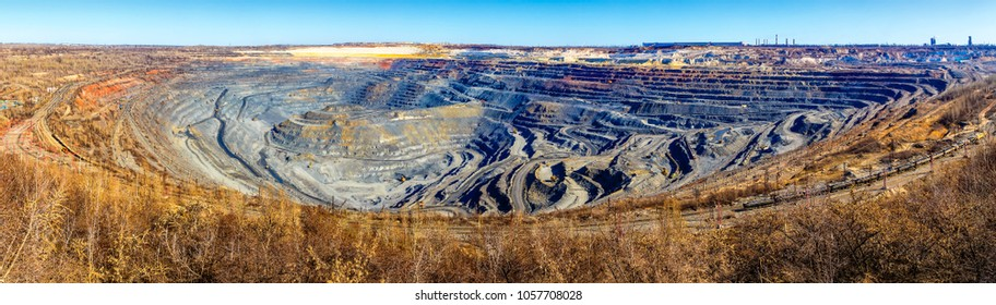 Environmental pollution problems. World's largest open pit iron ore mine near the town of Gubkin, Russia