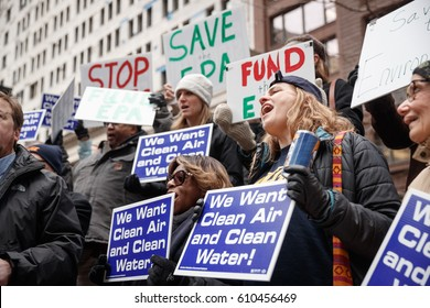 Environmental Protection Agency (EPA) workers and supporters protest job cuts during rally in Chicago, Illinois, March 2, 2017.