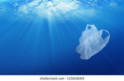 environmental protection concept. plastic bag pollution in ocean