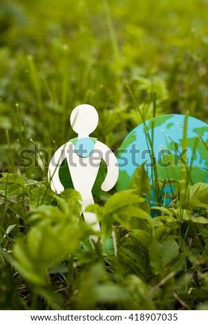 environmental protection on grass man stock photo edit now