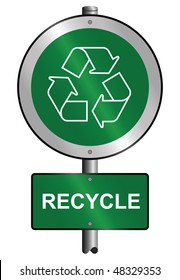 Environmental recycling symbol sign mounted on post