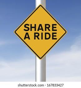 A environmental road sign promoting carpooling