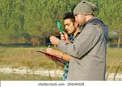 Environmental scientists researching the quality and growth of a natural plant sample and studying bio-diversity - 2 biologists doing botanical tests  -