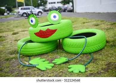 Environmental sculpture made of tires in Husavik, Iceland