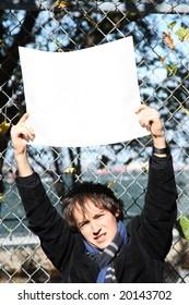 Environmental series, man holding a sign