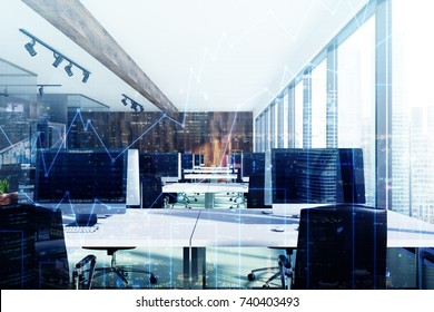 Environmental style open space office interior with a concrete floor, panoramic windows, wooden flower beds and rows of computer tables. 3d rendering mock up double exposure toned image