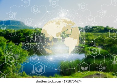Environmental technology concept illustrations on nature background