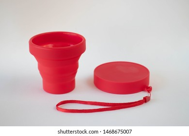 Environmental-friendly collapsible cup or foldable cup made from Silicone on a white background