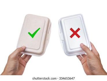 Environmentally friendly paper food box vs. foam box