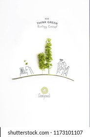 Environmentally friendly planet. Green trees, made of green branches, with hand drawn cartoon sketch of eco factory and houses with solar panels. Ecology industry and alternative energy concept.