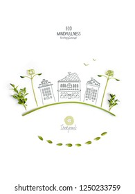 Environmentally friendly planet. Trees and solar street lights, made of green leaves with hand drawn sketches of a city houses. Minimal nature concept.Think Green. Ecology Concept.Flat lay.T
