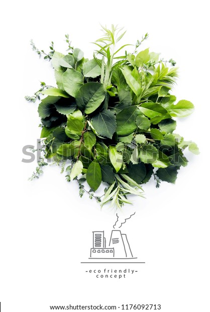 Environmentally friendly planet.Symbolic ecologycaly clean air cloud, made of green leaves and grass with hand drawn cartoon sketch of eco factory. Ecology industry and alternative energy concept.
