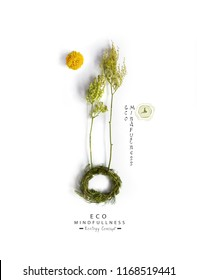 Environmentally friendly planet.Symbolic planet with trees, made of green branches and grass with flower moon. Minimal nature concept.Think Green.Ecology Concept.Flat lay.Top view.