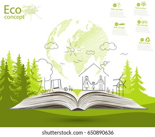 Environmentally friendly world. Green world map global environment with happy family stories. Open book of happy family stories. Ecology concept. Ecologically clean world. Illustration. Doodle.
