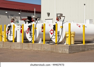 Environmentally safe fuel tanks with safety features such as fire extinguishers and back up pillars to prevent trucks from backing into the tanks.