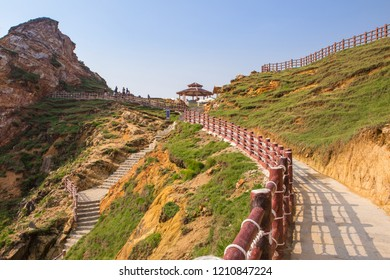 Eo gio (Wind Strait) - a beautiful tourist destination in Quy Nhon with wild beauty and amazing green beaches and many caves. It is 20 km from Quy Nhon city, Vietnam.