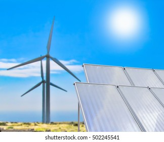 Eolian system and solar panel at a green park