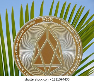 EOS crypto currency blockchain coin with tropical palm background