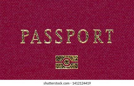 ePassport (electronic passport) logo on red european passport