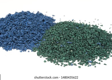 EPDM rubber granules . Colored Rubber Granules on white background