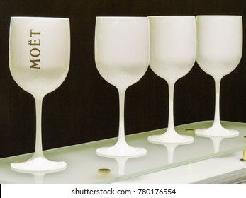Epernay, Champagne, France - 11 August 2014:   Visiting the Dom Perignon - Moet & Chandon wine cellars in  the ancient Champagne producer company. close-up of the glasses.
