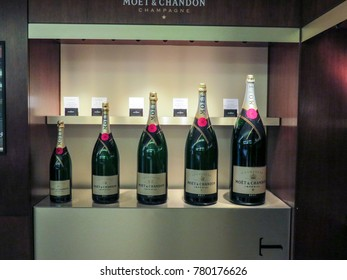 Epernay, Champagne, France - 11 August 2014:  Visiting the Dom Perignon - Moet & Chandon wine cellars in  the ancient Champagne producer company. close-up of the bottles.