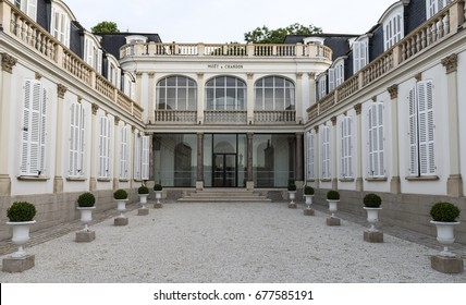 Epernay, France - June 13, 2017: Champagne house Moet Chandon at the Avenue de Champagne in Epernay, France.