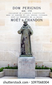 EPERNAY, FRANCE - May 16, 2018: Statue of Dom Perignon at Champagne house Moet & Chandon