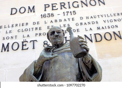 EPERNAY, FRANCE - May 16, 2018: Close up of statue of Dom Perignon at Champagne house Moet & Chandon