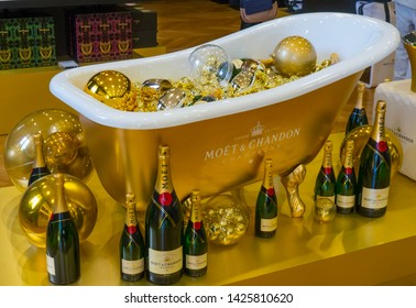 Epernay / France - May, 8, 2017: Moet and Chandon Champagne Bathtub Display