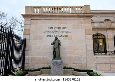 Epernay, France - November 18, 2017: Statue of Dom Perignon at Champagne house Moët & Chandon in Epernay, France.
