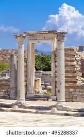 Ephesus, Izmir Province, Turkey - July 17, 2016: The ancient city of Ephesus (Efes in Turkish) located near Selcuk town of Izmir Turkey.