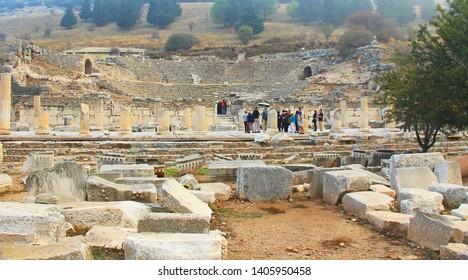 Ephesus, Izmir, Turkey - October 19, 2018: Archaeological ruins of the Odeon or Little Theater near the State Agora in Ephesus, Turkey near Selcuk.