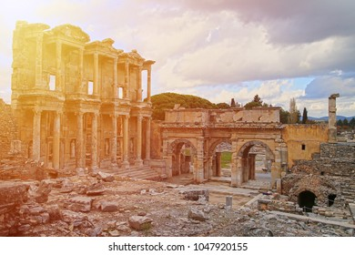 Ephesus - November 2017: The Library of Celsus is an ancient Roman building in Ephesus, Anatolia. Ephesus was a Greek city, three kilometres southwest of present-day Selcuk in Izmir Province.