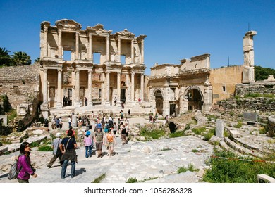 Ephesus, Turkey - april 14, 2009 : People are observing  Library of Celsus in Ephesus Ancient City in Turkey.