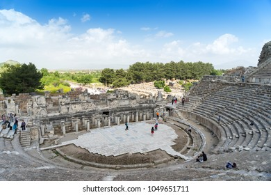 EPHESUS, TURKEY - April 2: Great Theatre of Ephesus on April 2, 2017 in Ephesus, Turkey. Ancient Ephesus contains the largest collection of Roman ruins in the eastern Mediterranean.