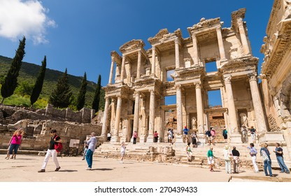 EPHESUS, TURKEY - APRIL 26 : Ruins of the library of Cicero on April 26, 2014 in Ephesus.
