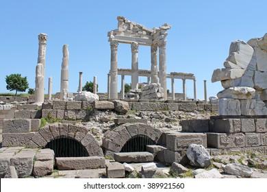 Ephesus, Turkey - April, 30.2013 - Column temple in Ephesus Turkey