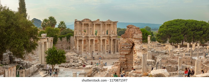 Ephesus, Turkey - August 05, 2017 : Library of Celsus in Ephesus Ancient City in Turkey.