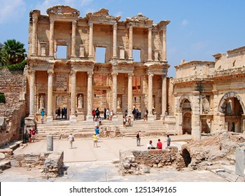 Ephesus, Turkey - August 11, 2013. Library of Celsus in Ephesus, dating back to 114 AD, with people.