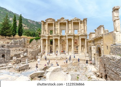 EPHESUS, TURKEY - JUNE 20, 2018 : Celsus library in Ephesus ancient city ruins on cloudy sky. Ephesus famous place for tourists in Izmir for historical place.