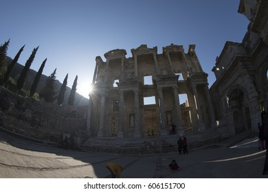 Ephesus, Turkey - March 21, 2017: People are visiting the ancient city of Ephesus. Ephesus is the most popular Antique City in Turkey.