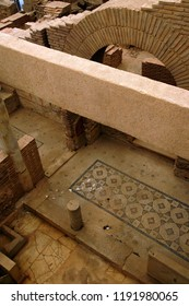 EPHESUS, TURKEY - MAY 25, 2014 -  Excavations by archaeologists have revealed beauttiful mosaic floors  of private homes on the terraces above  Ephesus, Turkey