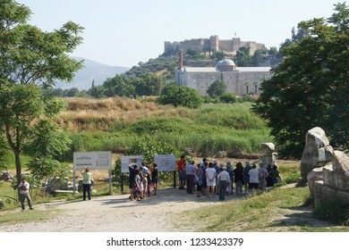 EPHESUS, TURKEY - MAY 25, 2014 - Tourists gather at the ancient site of the temple of Artemis, one of the 7 wonders, Ephesus, Turkey