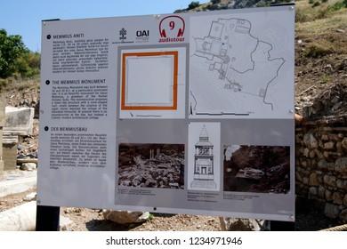 EPHESUS, TURKEY - MAY 25, 2014 - Signs with diagrams of the anacient ruins,  Ephesus, Turkey